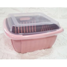 2-layer Hollow-out Drain Basket with Clear Cover